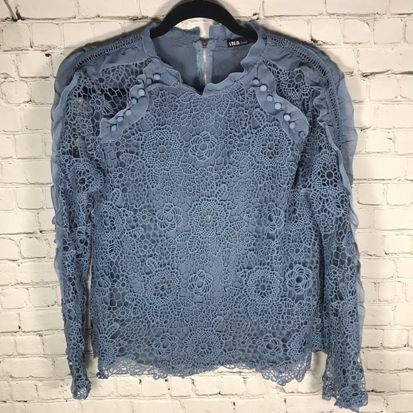 Ina Tops - Boutique lacy blue top sz L